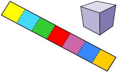 معمای تصویری با جواب-ساخت مکعب با یک نوار